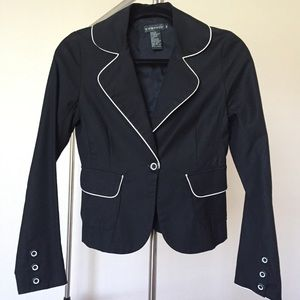 Rampage Black Fitted Blazer w/ White Piping